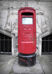 Red mail box in England