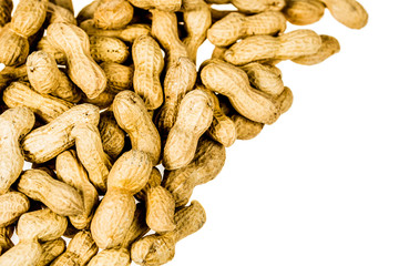 A pile of roasted peanuts background