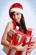 canvas print picture - hübsche Frau mit Geschenken