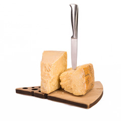 Parmigiano reggiano chees with knife isolated on white