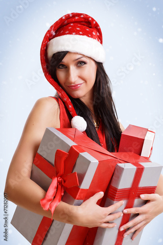 canvas print picture hübsche Frau mit Geschenken