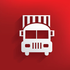 Car logistic design on red background,clean vector