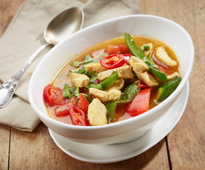 freshly cooked spicy chicken soup