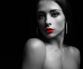 Sexy makeup woman with calm look. Art black and white portrait