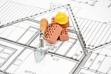 Bau Baustelle Helm Steine
