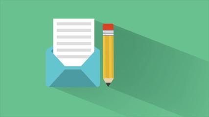 Pen writting letter illustration, Animation Design, HD 1080
