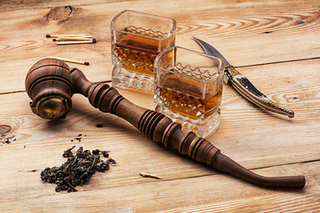 men's set of pipe whiskey vintage style