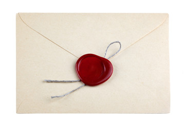old mail envelope with red wax seal stamps