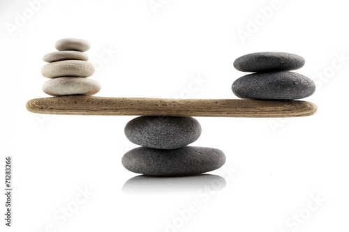 Papiers peints Zen balancing stones on white