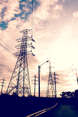 Energy Distribution Network - Electricity Pylons against sky