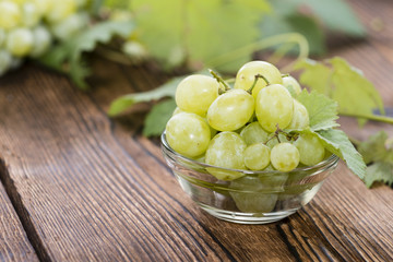 Portion of fresh Green Grapes