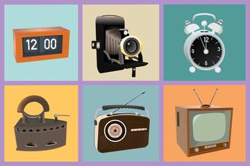 Sechs verschiedene Vintage-Objekte