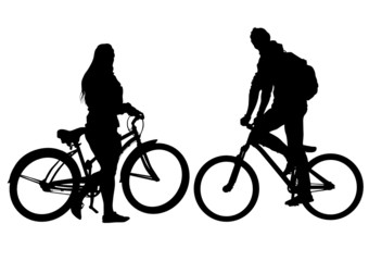 Cyclist man and women