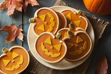 Homemade Jack O'lantern Pumpkin Cookie