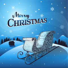 Blue Christmas winter background with santa sleigh