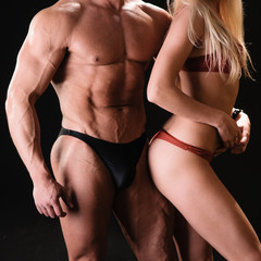 bodybuilder and woman