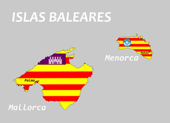 Karte der Balearen in Landesfarben