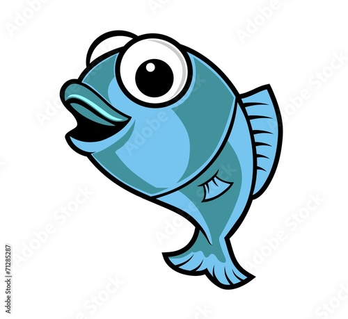canvas print picture fish cartoon blue