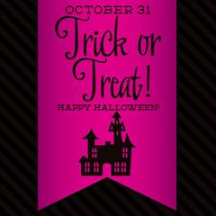 Haunted house Halloween sash card in vector format.