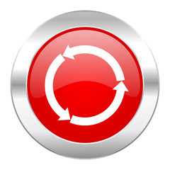 refresh red circle chrome web icon isolated