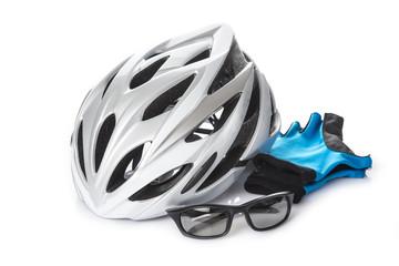 Casco gafas y guantes protección seguridad bicicleta ciclismo