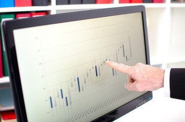 Index finger showing a screen with stock exchange data graph