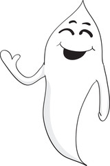 Happy waving ghost