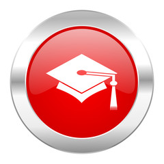 education red circle chrome web icon isolated