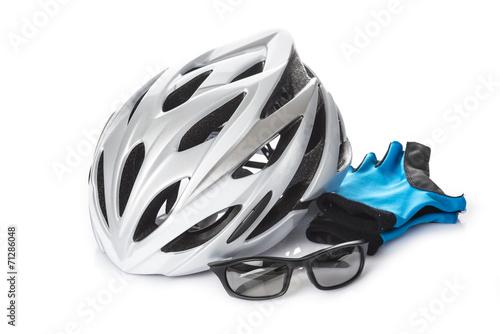 Fotobehang Wielersport Casco gafas y guantes protección seguridad bicicleta ciclismo