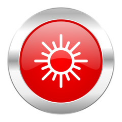 sun red circle chrome web icon isolated