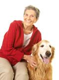 Senior Woman with Her Golden Retriever Dog poster