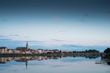 Saône River at Mâcon Saône et Loire Bourgogne France at twili