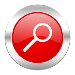search red circle chrome web icon isolated