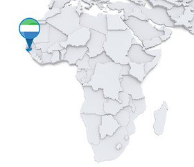 Sierra Leone on a map of Africa