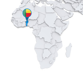 Benin on a map of Africa