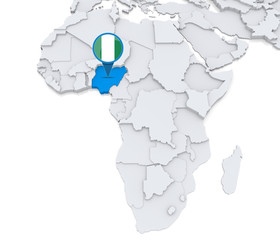 Nigeria on a map of Africa