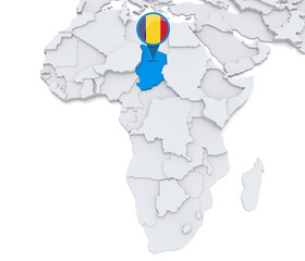 Chad on a map of Africa