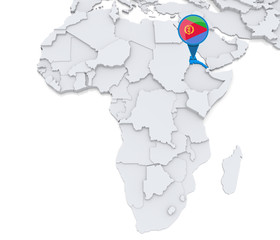 Eritrea on a map of Africa