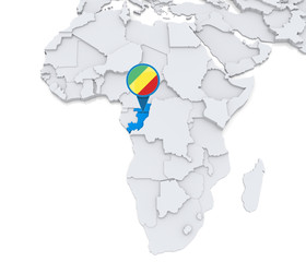 Congo on a map of Africa