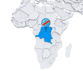 Democratic republic of Congo on a map of Africa