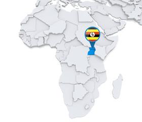 Uganda on a map of Africa