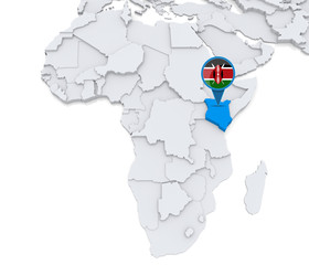 Kenya on a map of Africa