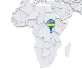 Rwanda on a map of Africa