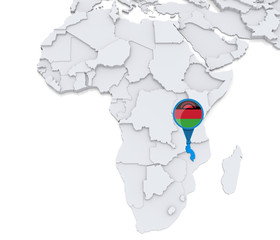 Malawi on a map of Africa