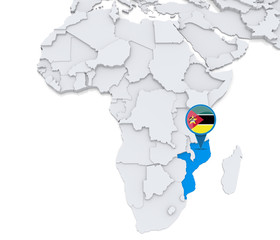 Mozambique on a map of Africa