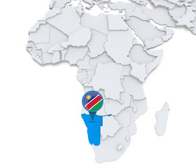 Namibia on a map of Africa