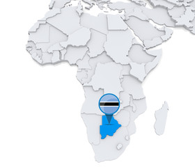 Botswana on a map of Africa
