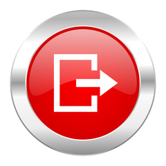 exit red circle chrome web icon isolated