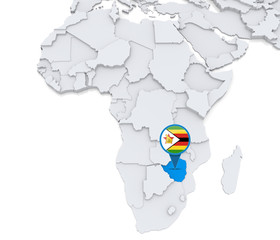 Zimbabwe on a map of Africa