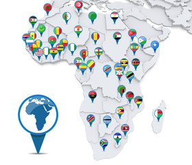 Map of Africa with national flags